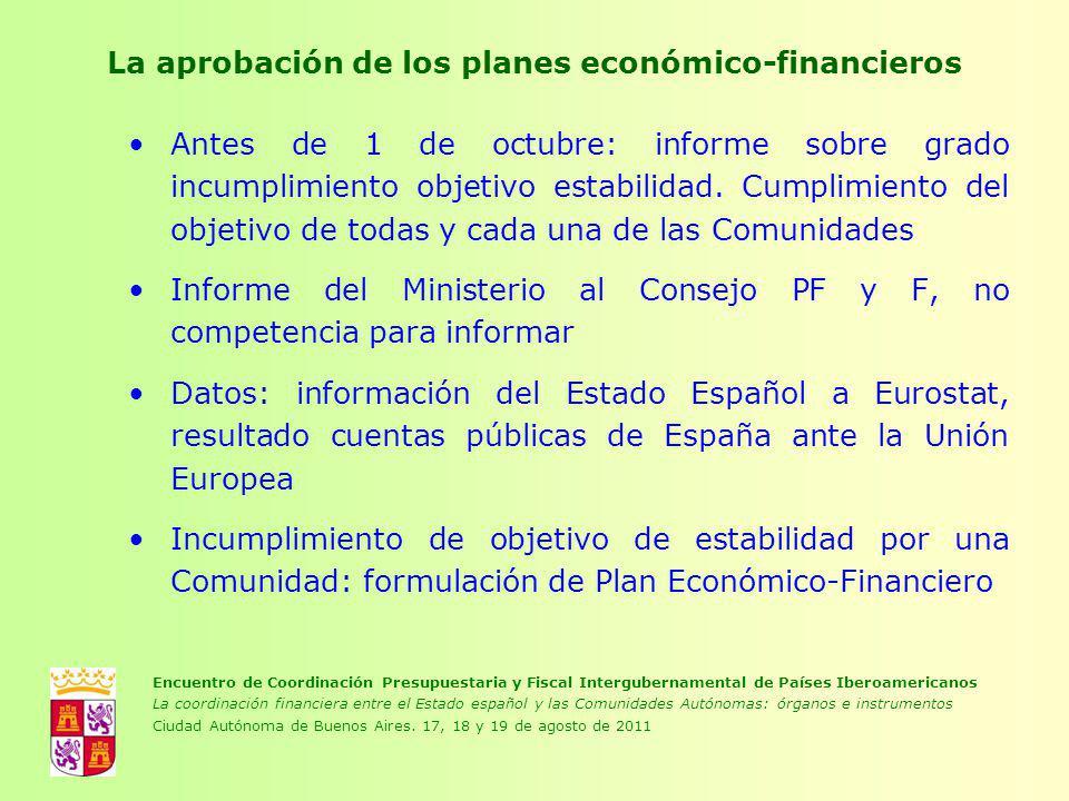 La aprobación de los planes económico-financieros Antes de 1 de octubre: informe sobre grado incumplimiento objetivo estabilidad. Cumplimiento del obj