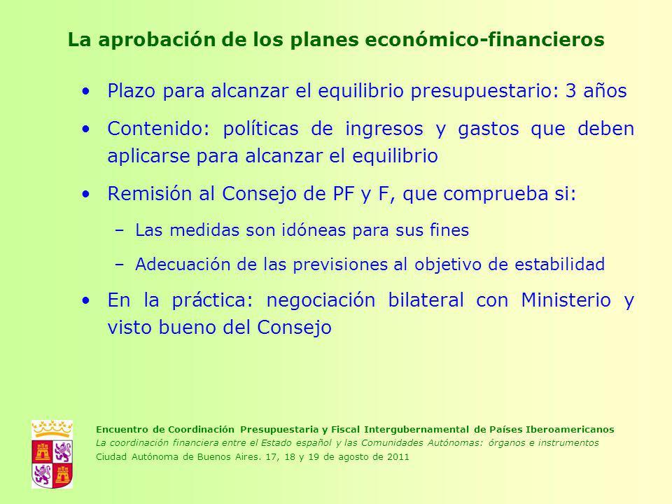 La aprobación de los planes económico-financieros Plazo para alcanzar el equilibrio presupuestario: 3 años Contenido: políticas de ingresos y gastos q