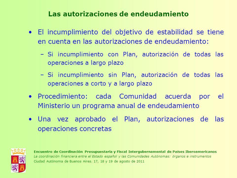 Las autorizaciones de endeudamiento El incumplimiento del objetivo de estabilidad se tiene en cuenta en las autorizaciones de endeudamiento: –Si incum