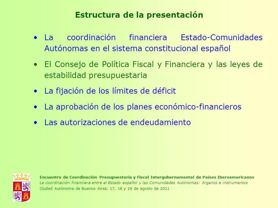 Estructura de la presentación La coordinación financiera Estado-Comunidades Autónomas en el sistema constitucional español El Consejo de Política Fisc
