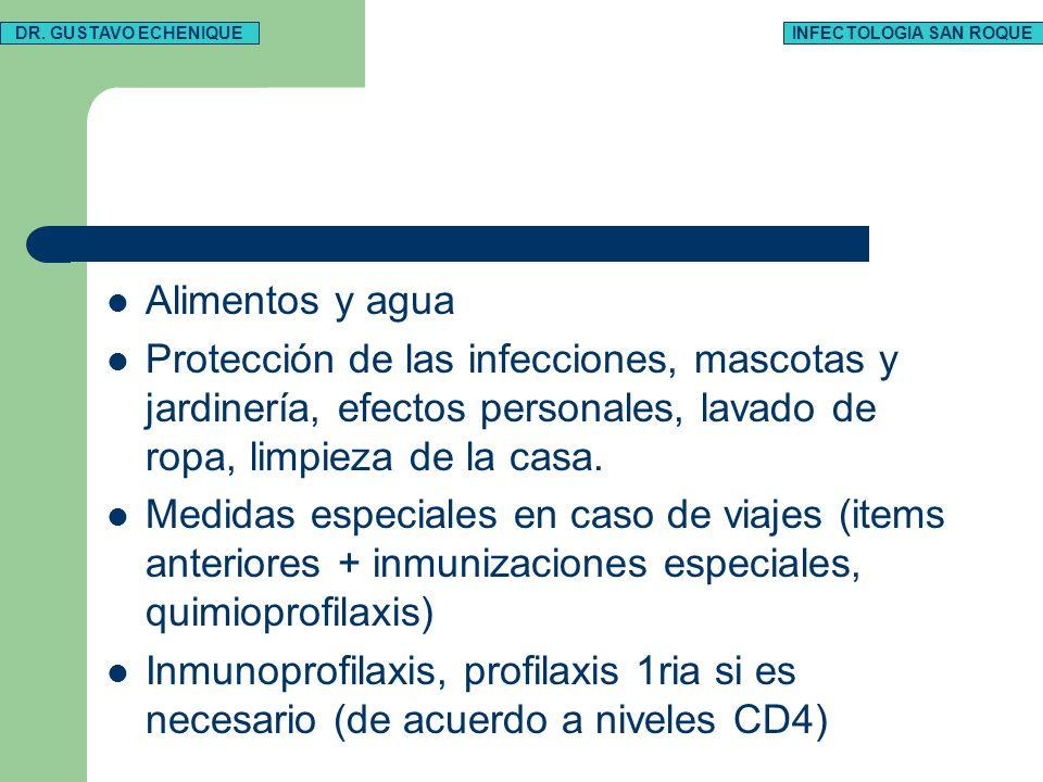 Alimentos y agua Protección de las infecciones, mascotas y jardinería, efectos personales, lavado de ropa, limpieza de la casa.