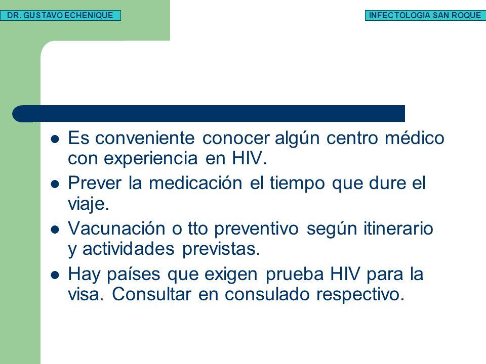 Es conveniente conocer algún centro médico con experiencia en HIV. Prever la medicación el tiempo que dure el viaje. Vacunación o tto preventivo según