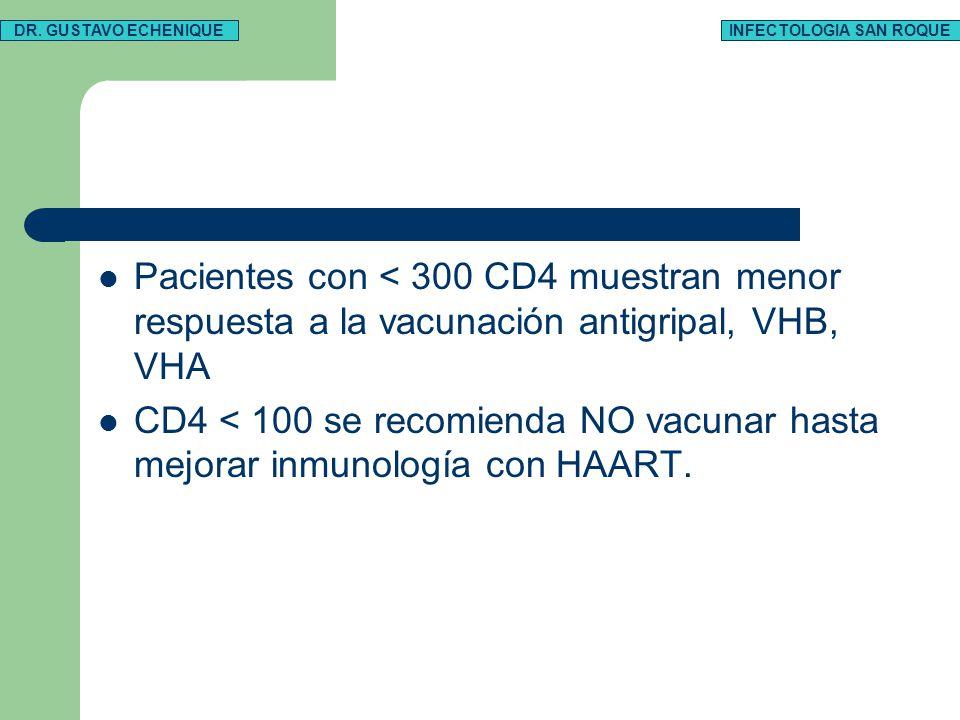 Pacientes con < 300 CD4 muestran menor respuesta a la vacunación antigripal, VHB, VHA CD4 < 100 se recomienda NO vacunar hasta mejorar inmunología con