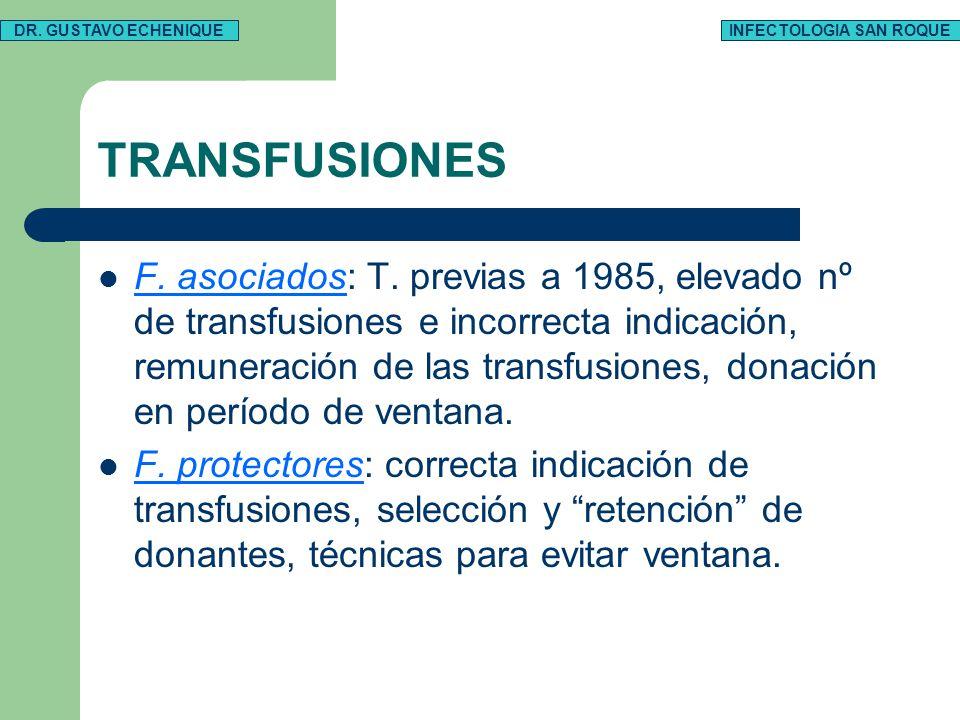 TRANSFUSIONES F. asociados: T. previas a 1985, elevado nº de transfusiones e incorrecta indicación, remuneración de las transfusiones, donación en per
