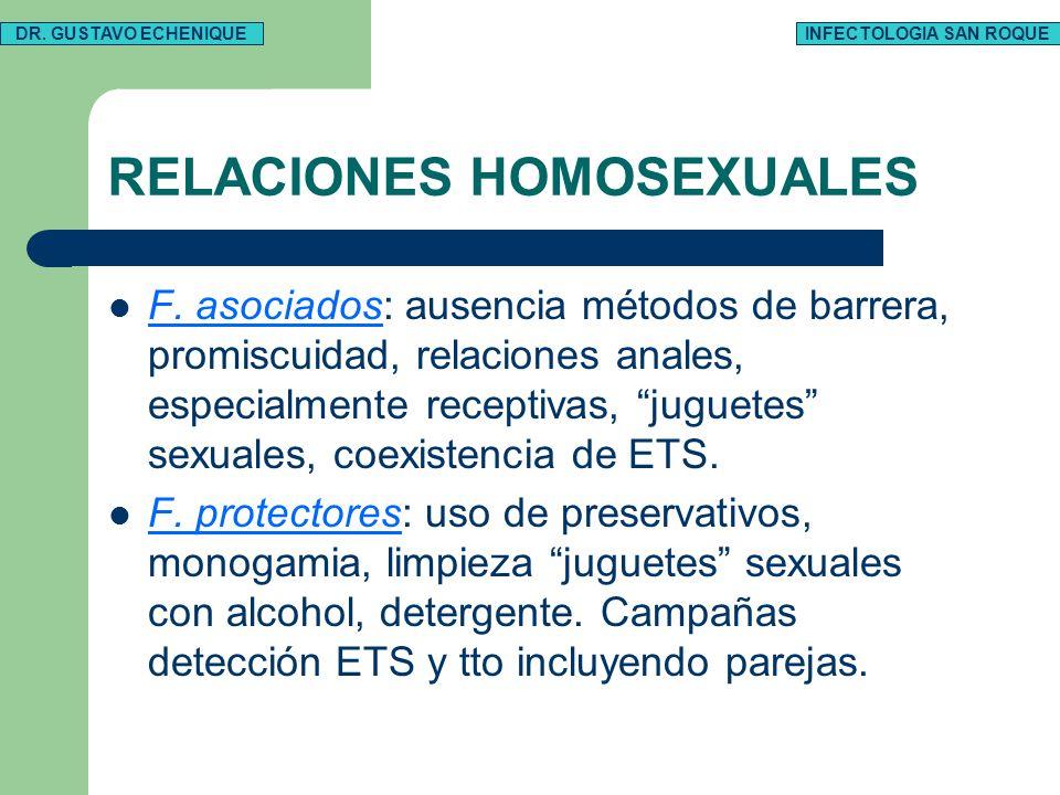 RELACIONES HOMOSEXUALES F. asociados: ausencia métodos de barrera, promiscuidad, relaciones anales, especialmente receptivas, juguetes sexuales, coexi