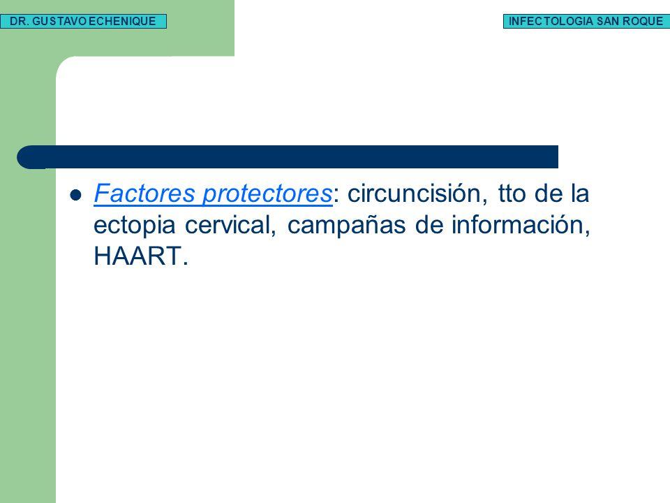 Factores protectores: circuncisión, tto de la ectopia cervical, campañas de información, HAART. DR. GUSTAVO ECHENIQUEINFECTOLOGIA SAN ROQUE