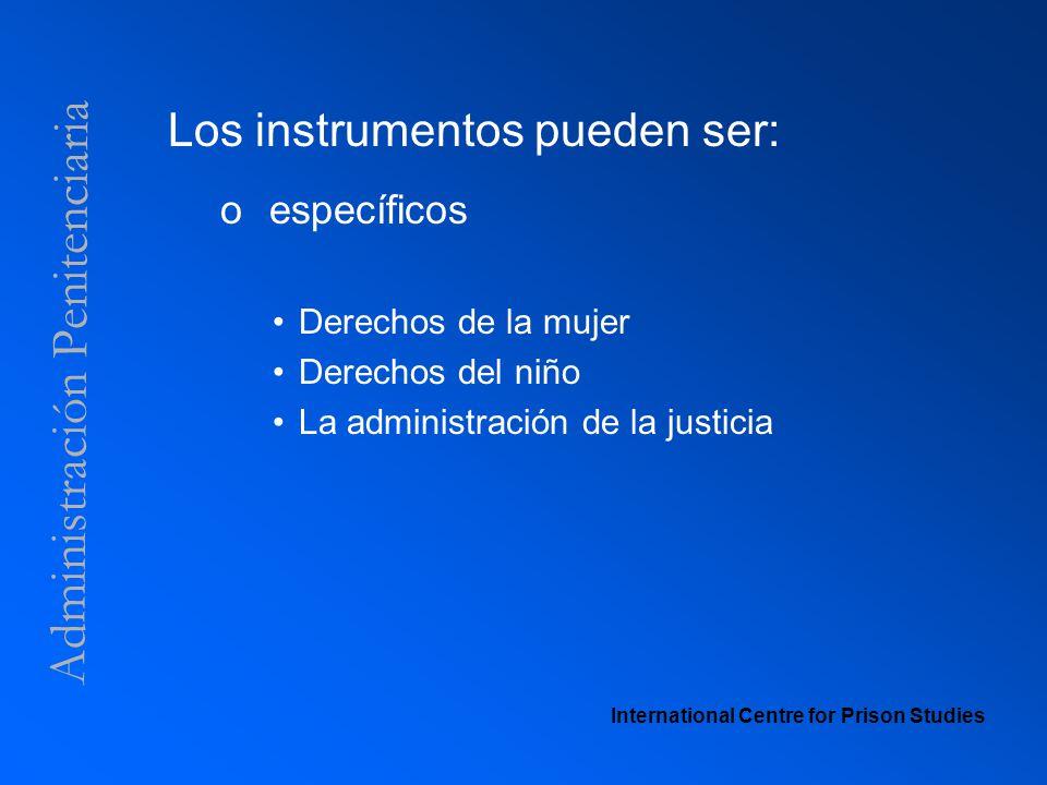 Administración Penitenciaria Los instrumentos pueden ser: o específicos Derechos de la mujer Derechos del niño La administración de la justicia Intern