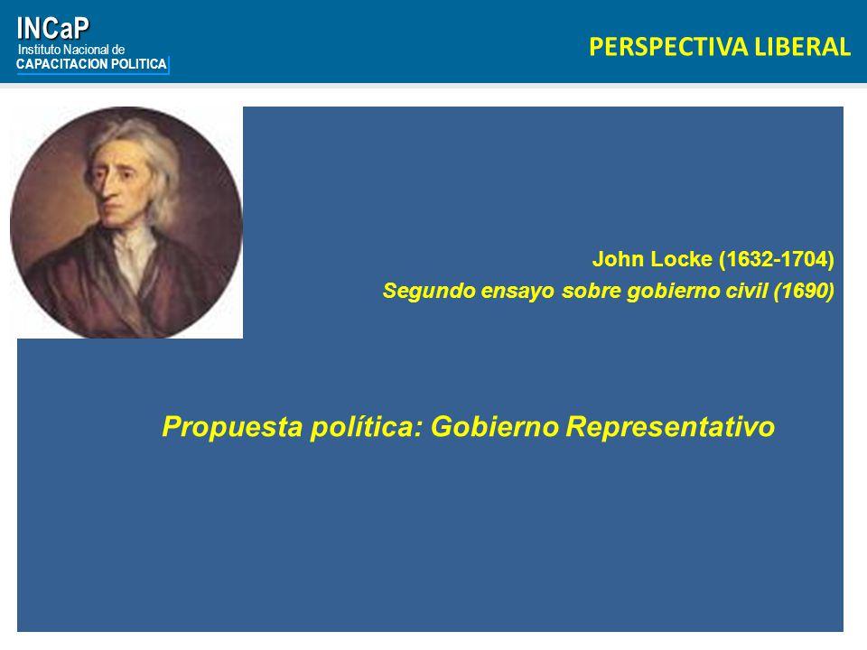 INCaP Instituto Nacional de CAPACITACION POLITICA PERSPECTIVA LIBERAL John Locke (1632-1704) Segundo ensayo sobre gobierno civil (1690) Propuesta política: Gobierno Representativo