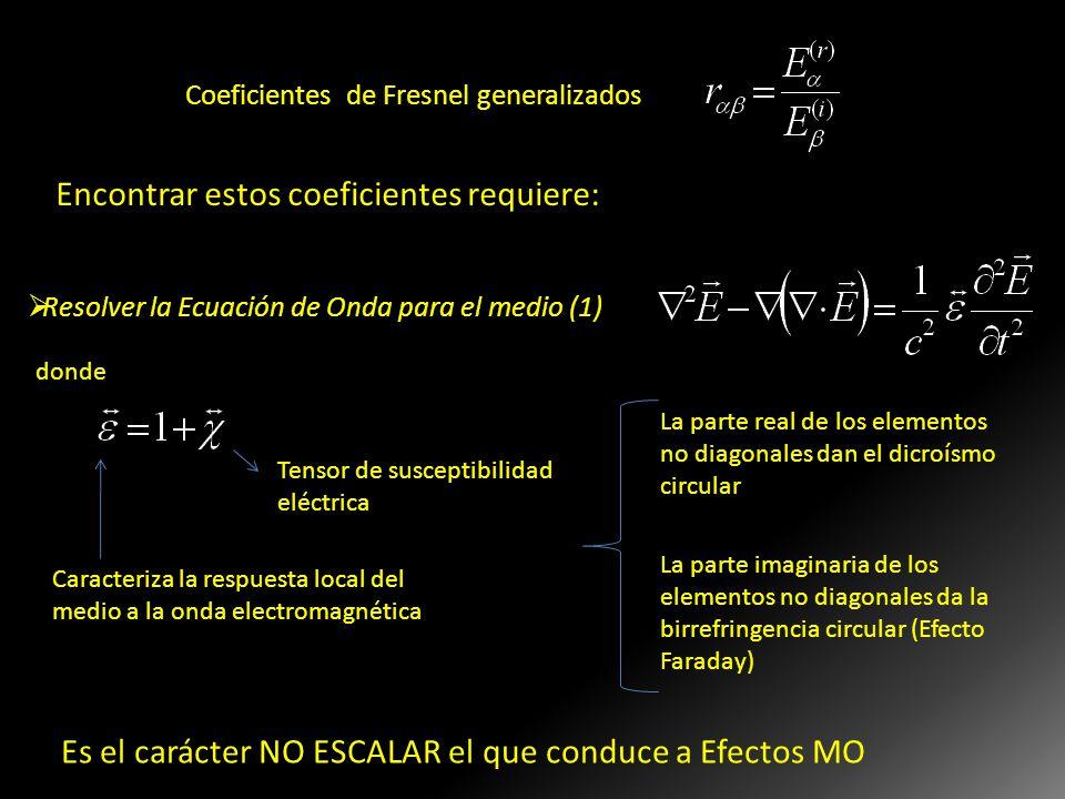 Encontrar estos coeficientes requiere: Resolver la Ecuación de Onda para el medio (1) Tensor de susceptibilidad eléctrica La parte real de los element