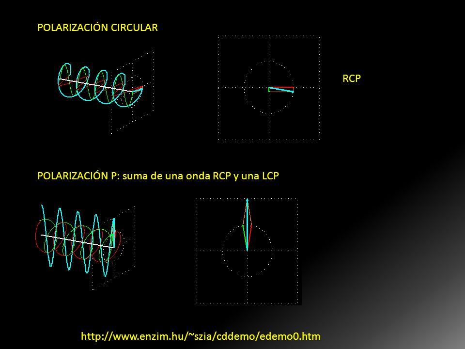 POLARIZACIÓN CIRCULAR RCP POLARIZACIÓN P: suma de una onda RCP y una LCP 2 ondas polarizadas P en direcciones ortogonales, de iguales amplitudes, pero