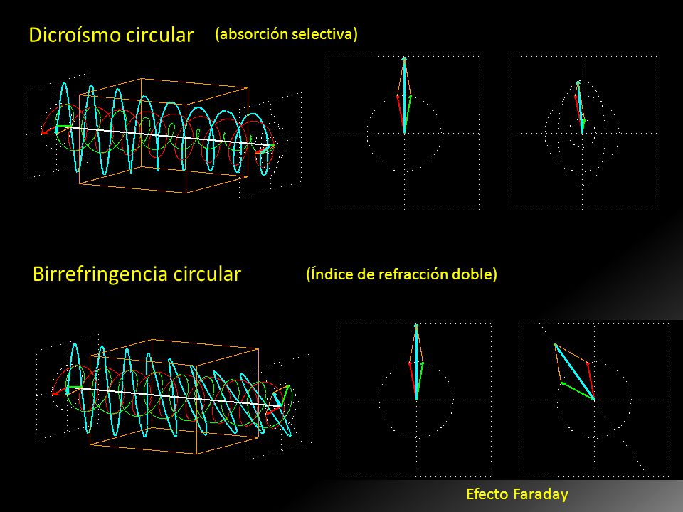 Dicroísmo circular Birrefringencia circular Cdo. El material absorbe de manera diferente las ondas RCP y LCP. Cdo. Una onda P incide sobre el material