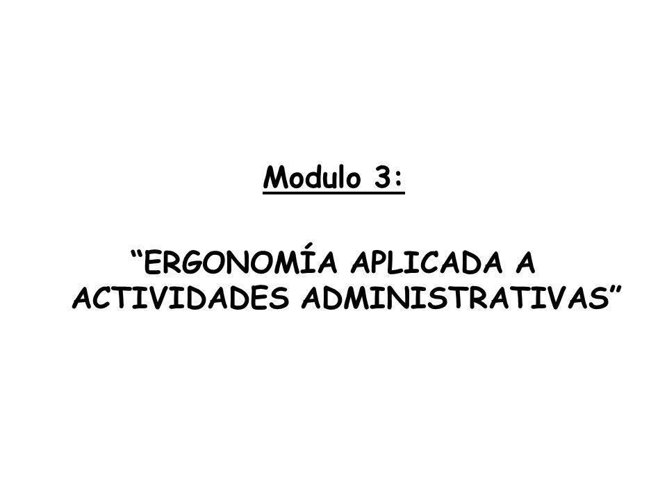 Modulo 3: ERGONOMÍA APLICADA A ACTIVIDADES ADMINISTRATIVAS