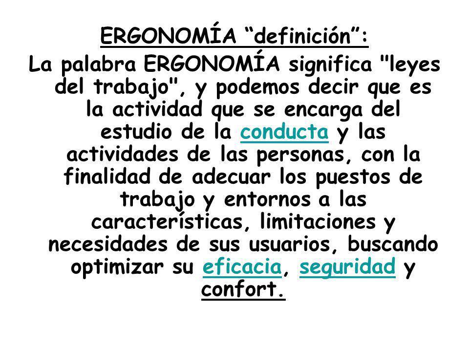 ERGONOMÍA definición: La palabra ERGONOMÍA significa