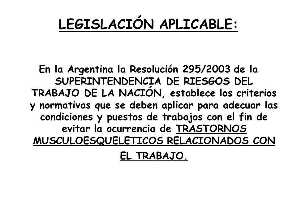 LEGISLACIÓN APLICABLE: En la Argentina la Resolución 295/2003 de la SUPERINTENDENCIA DE RIESGOS DEL TRABAJO DE LA NACIÓN, establece los criterios y no