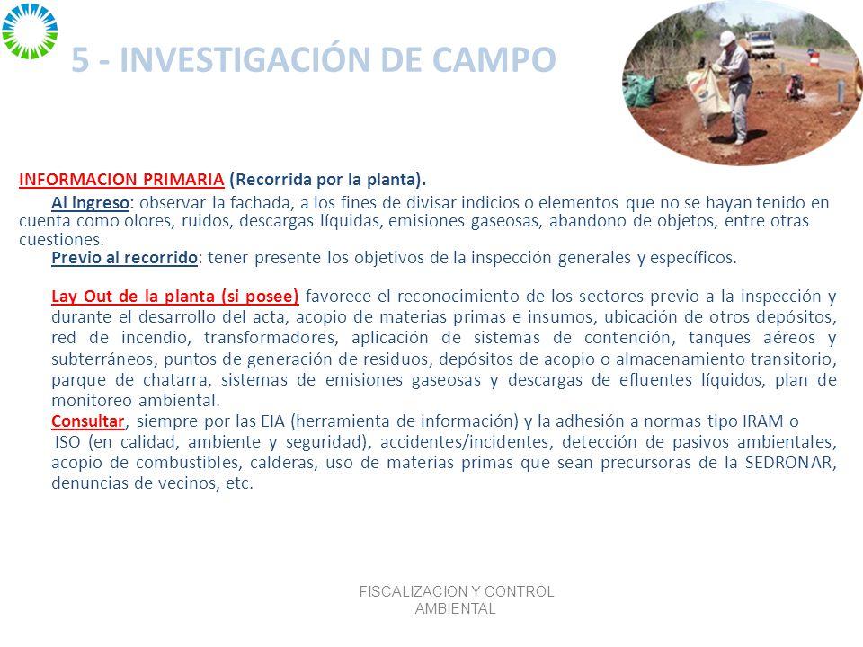 5 - INVESTIGACIÓN DE CAMPO INFORMACION PRIMARIA (Recorrida por la planta).