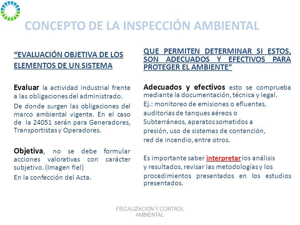 CONCEPTO DE LA INSPECCIÓN AMBIENTAL EVALUACIÓN OBJETIVA DE LOS ELEMENTOS DE UN SISTEMA Evaluar la actividad industrial frente a las obligaciones del administrado.