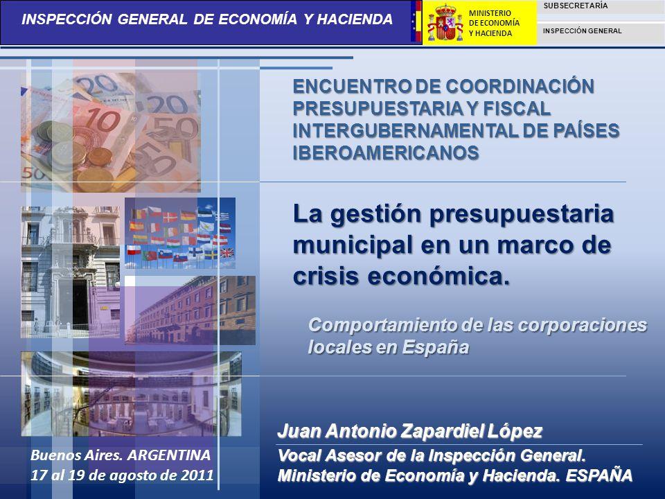 INSPECCIÓN GENERAL DE ECONOMÍA Y HACIENDA SUBSECRETARÍA INSPECCIÓN GENERAL MINISTERIO DE ECONOMÍA Y HACIENDA CONTENIDOS: La influencia de la crisis económica en la gestión presupuestaria municipal El Endeudamiento de los Ayuntamientos Estructura de la Administración Local en España.