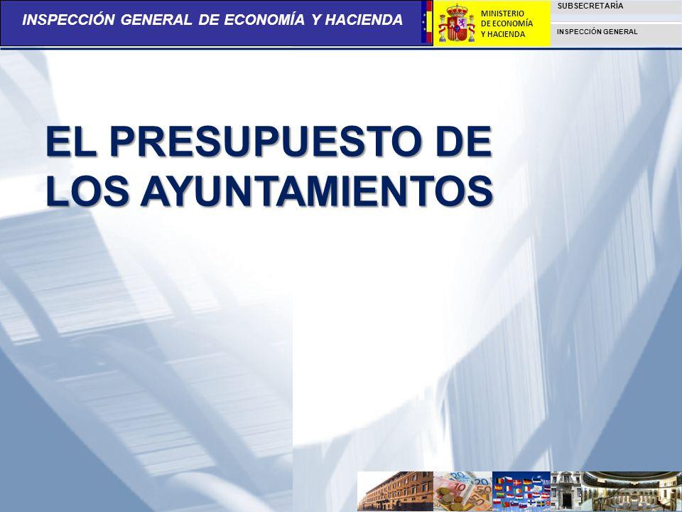 INSPECCIÓN GENERAL DE ECONOMÍA Y HACIENDA SUBSECRETARÍA INSPECCIÓN GENERAL MINISTERIO DE ECONOMÍA Y HACIENDA EL PRESUPUESTO DE LOS AYUNTAMIENTOS