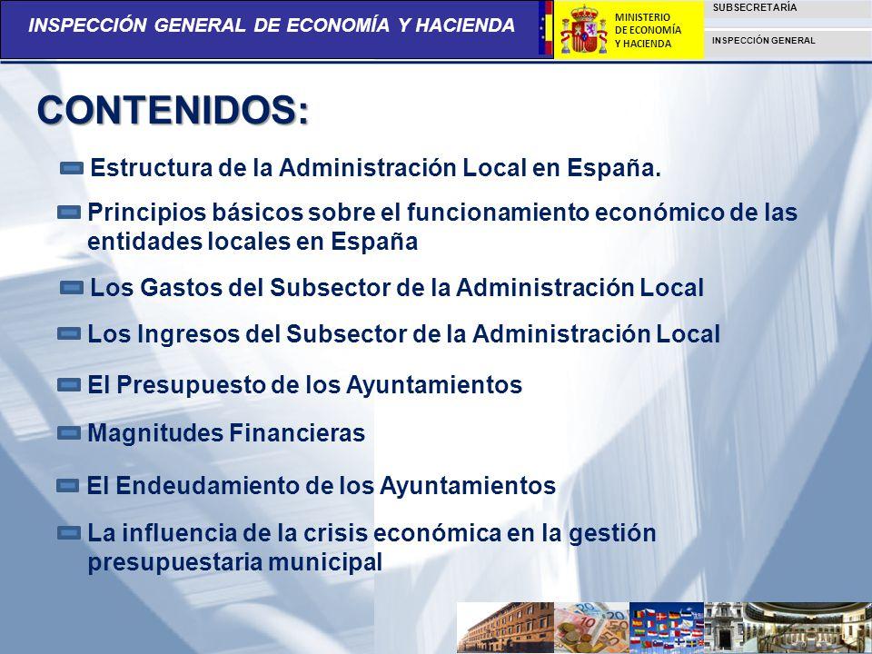 INSPECCIÓN GENERAL DE ECONOMÍA Y HACIENDA SUBSECRETARÍA INSPECCIÓN GENERAL MINISTERIO DE ECONOMÍA Y HACIENDA ESTRUCTURA DE LA ADMINISTRACIÓN LOCAL EN ESPAÑA