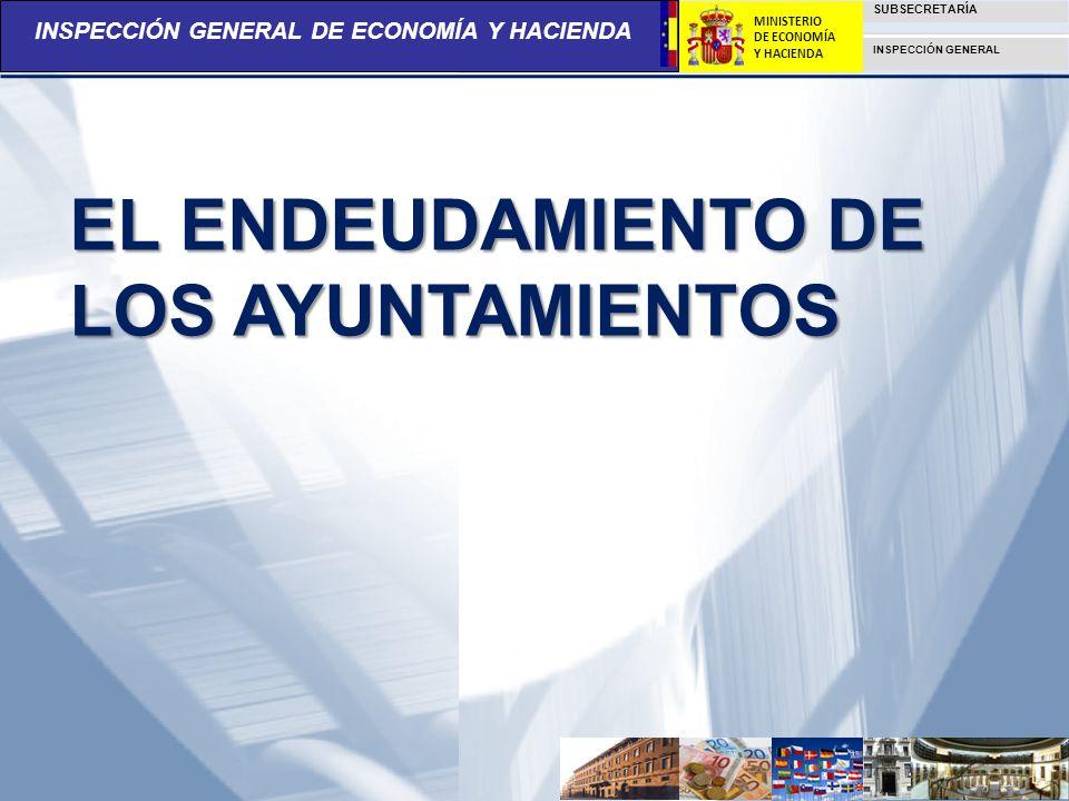 INSPECCIÓN GENERAL DE ECONOMÍA Y HACIENDA SUBSECRETARÍA INSPECCIÓN GENERAL MINISTERIO DE ECONOMÍA Y HACIENDA EL ENDEUDAMIENTO DE LOS AYUNTAMIENTOS