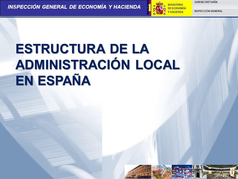 INSPECCIÓN GENERAL DE ECONOMÍA Y HACIENDA SUBSECRETARÍA INSPECCIÓN GENERAL MINISTERIO DE ECONOMÍA Y HACIENDA ESTRUCTURA DE LA ADMINISTRACIÓN LOCAL EN