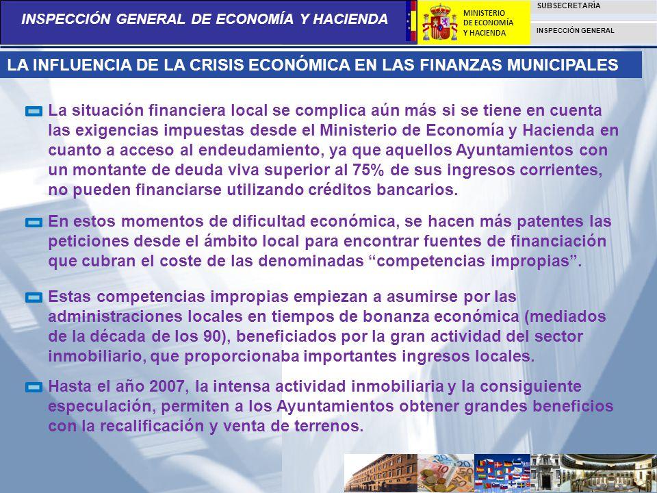 INSPECCIÓN GENERAL DE ECONOMÍA Y HACIENDA SUBSECRETARÍA INSPECCIÓN GENERAL MINISTERIO DE ECONOMÍA Y HACIENDA LA INFLUENCIA DE LA CRISIS ECONÓMICA EN L