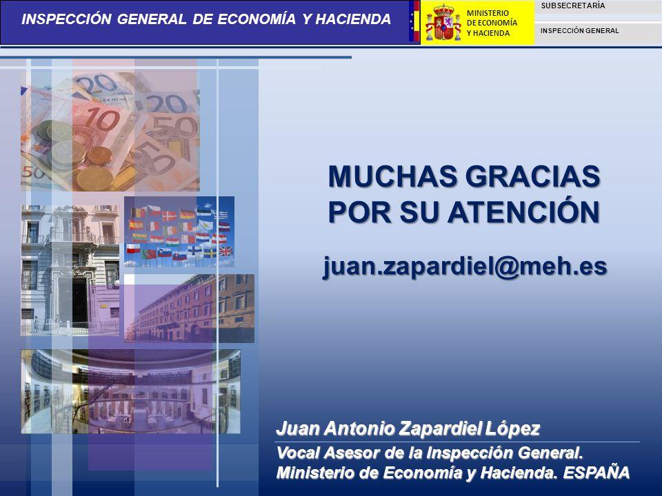 INSPECCIÓN GENERAL DE ECONOMÍA Y HACIENDA SUBSECRETARÍA INSPECCIÓN GENERAL MINISTERIO DE ECONOMÍA Y HACIENDA MUCHAS GRACIAS POR SU ATENCIÓN juan.zapar