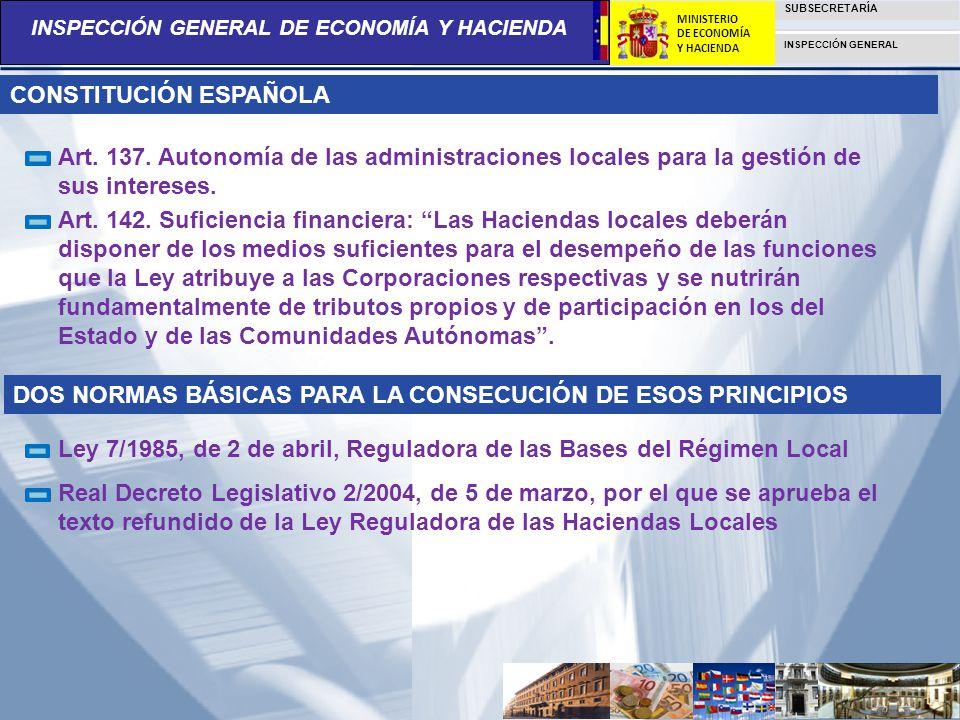 INSPECCIÓN GENERAL DE ECONOMÍA Y HACIENDA SUBSECRETARÍA INSPECCIÓN GENERAL MINISTERIO DE ECONOMÍA Y HACIENDA Art. 137. Autonomía de las administracion