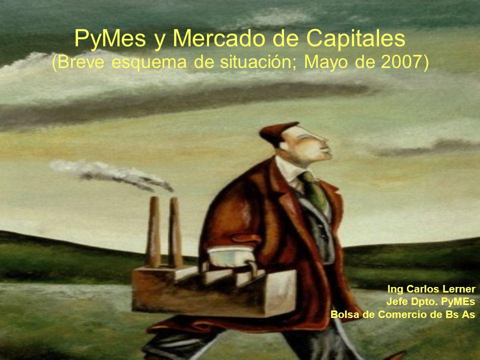 PyMes y Mercado de Capitales (Breve esquema de situación; Mayo de 2007) Ing Carlos Lerner Jefe Dpto.