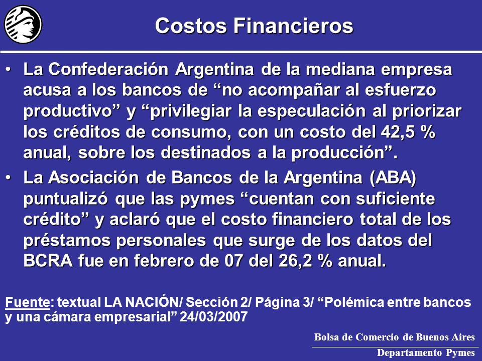 Bolsa de Comercio de Buenos Aires Departamento Pymes Tasas CPD – Abril 2007