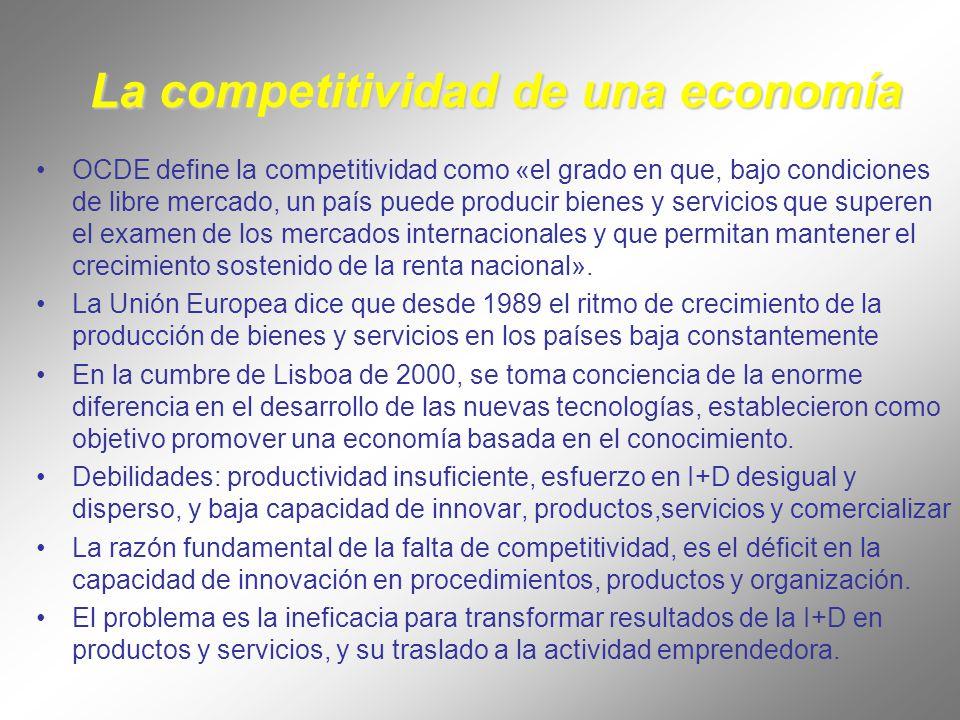 La competitividad de una economía OCDE define la competitividad como «el grado en que, bajo condiciones de libre mercado, un país puede producir bienes y servicios que superen el examen de los mercados internacionales y que permitan mantener el crecimiento sostenido de la renta nacional».