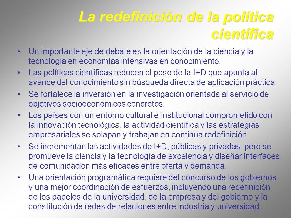La redefinición de la política científica Un importante eje de debate es la orientación de la ciencia y la tecnología en economías intensivas en conocimiento.