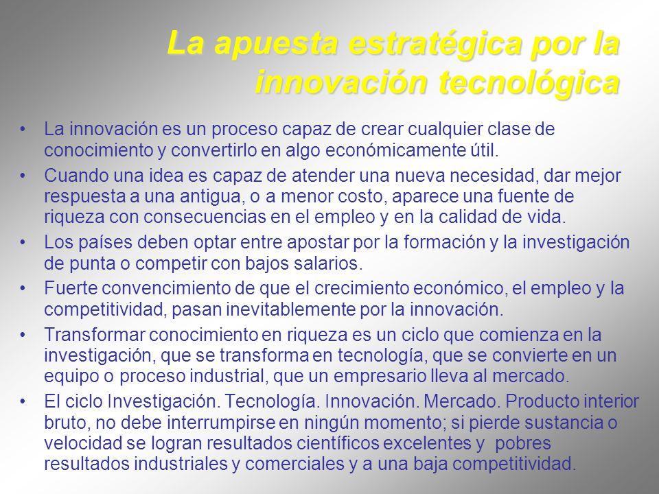 La apuesta estratégica por la innovación tecnológica La innovación es un proceso capaz de crear cualquier clase de conocimiento y convertirlo en algo económicamente útil.