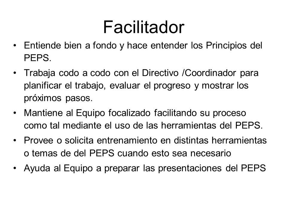 Facilitador Entiende bien a fondo y hace entender los Principios del PEPS.