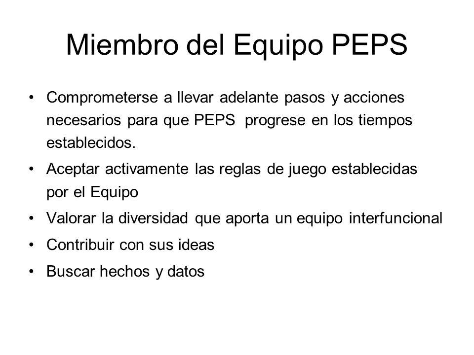 Miembro del Equipo PEPS Comprometerse a llevar adelante pasos y acciones necesarios para que PEPS progrese en los tiempos establecidos.