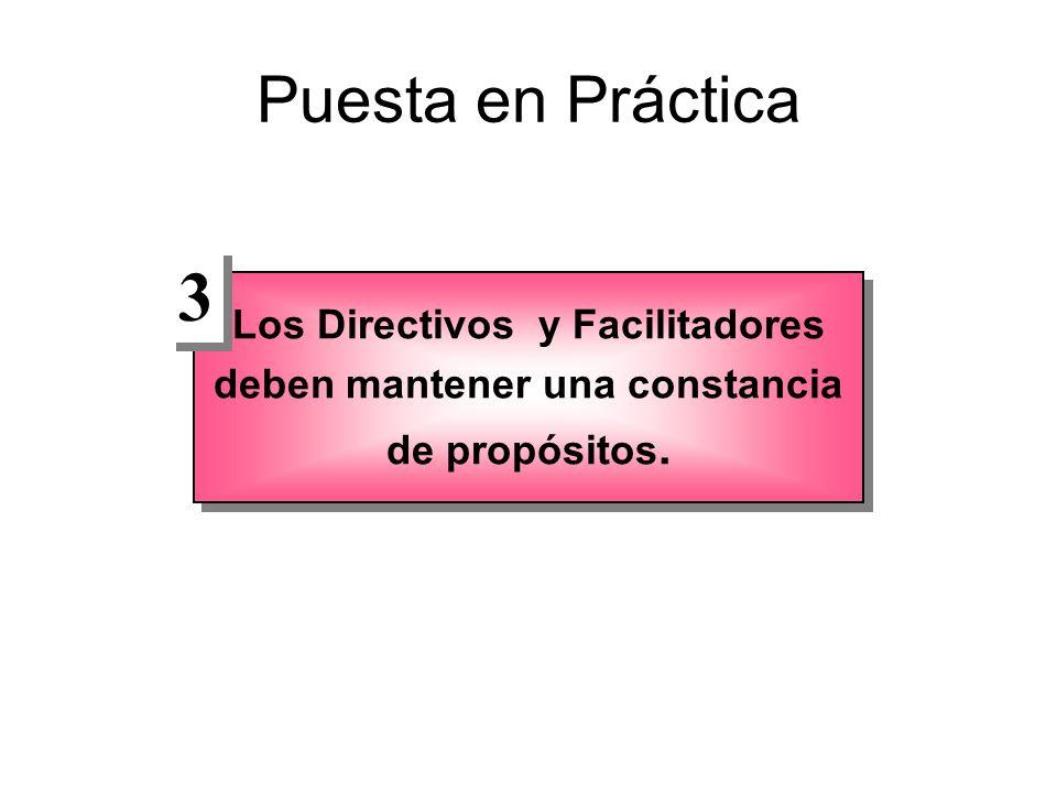 Puesta en Práctica Los Directivos y Facilitadores deben mantener una constancia de propósitos. 3 3