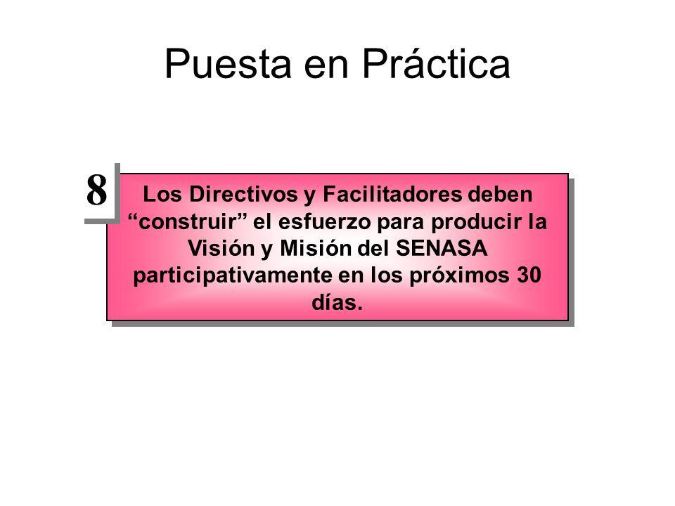Puesta en Práctica Los Directivos y Facilitadores deben construir el esfuerzo para producir la Visión y Misión del SENASA participativamente en los próximos 30 días.