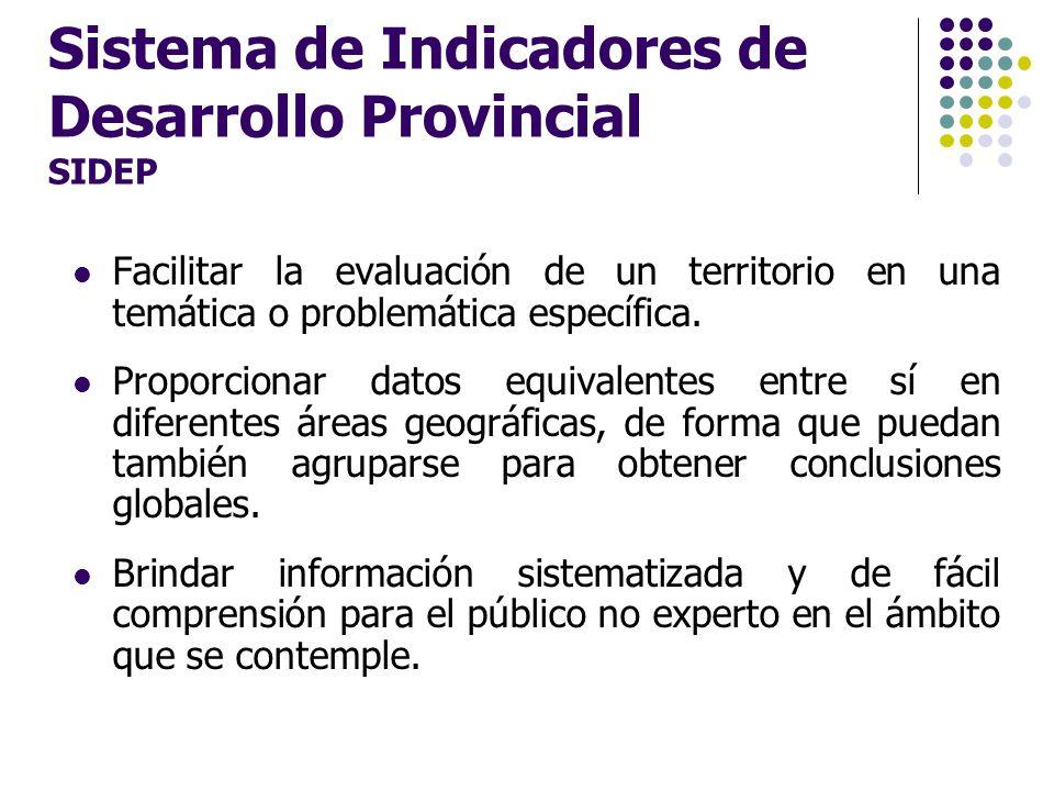 Sistema de Indicadores de Desarrollo Provincial SIDEP Facilitar la evaluación de un territorio en una temática o problemática específica. Proporcionar