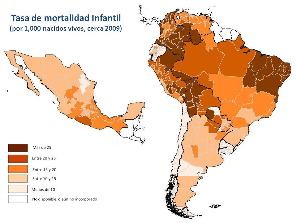 Tasa de mortalidad Infantil (por 1,000 nacidos vivos, cerca 2009)