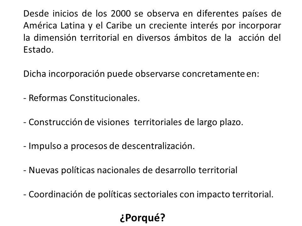 Desde inicios de los 2000 se observa en diferentes países de América Latina y el Caribe un creciente interés por incorporar la dimensión territorial en diversos ámbitos de la acción del Estado.