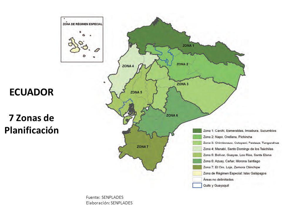 ECUADOR 7 Zonas de Planificación Fuente: SENPLADES Elaboración: SENPLADES