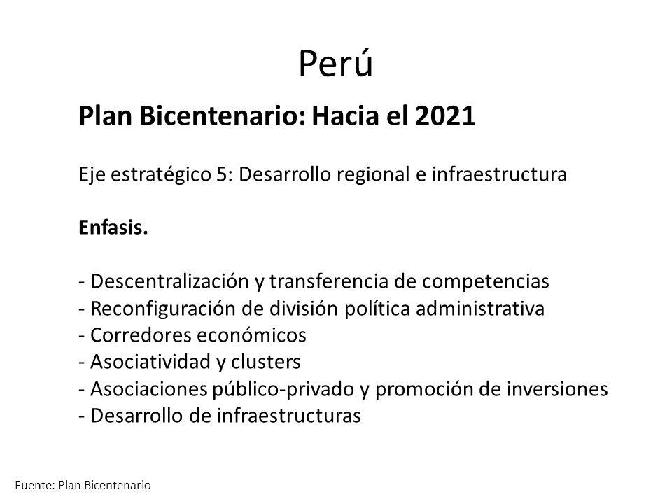 Perú Plan Bicentenario: Hacia el 2021 Eje estratégico 5: Desarrollo regional e infraestructura Enfasis.