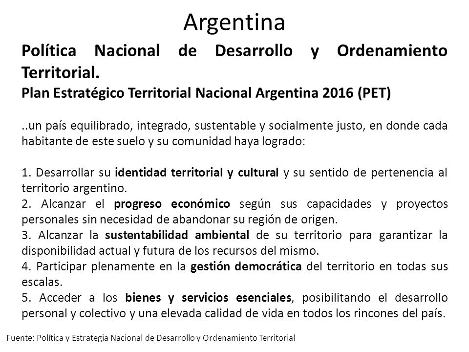 Argentina Política Nacional de Desarrollo y Ordenamiento Territorial.