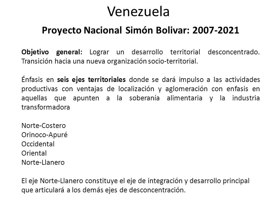 Venezuela Proyecto Nacional Simón Bolivar: 2007-2021 Objetivo general: Lograr un desarrollo territorial desconcentrado.