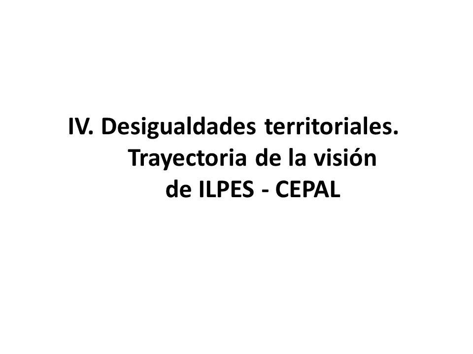 IV. Desigualdades territoriales. Trayectoria de la visión de ILPES - CEPAL