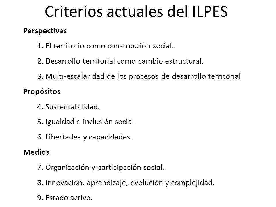 Criterios actuales del ILPES Perspectivas 1.El territorio como construcción social.