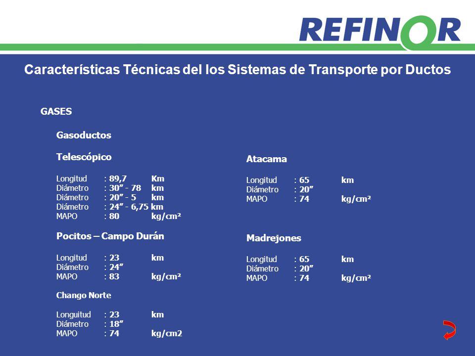Características Técnicas del los Sistemas de Transporte por Ductos Gasoductos Telescópico Longitud: 89,7Km Diámetro: 30 - 78km Diámetro: 20 - 5km Diámetro: 24 - 6,75 km MAPO: 80kg/cm² Pocitos – Campo Durán Longitud: 23km Diámetro: 24 MAPO: 83kg/cm² Chango Norte Longuitud: 23km Diámetro: 18 MAPO: 74 kg/cm2 GASES Atacama Longitud: 65km Diámetro: 20 MAPO: 74kg/cm² Madrejones Longitud: 65km Diámetro: 20 MAPO: 74kg/cm²