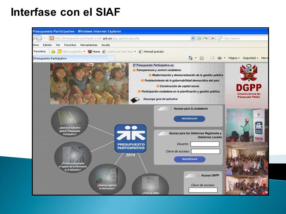 Interfase con el SIAF