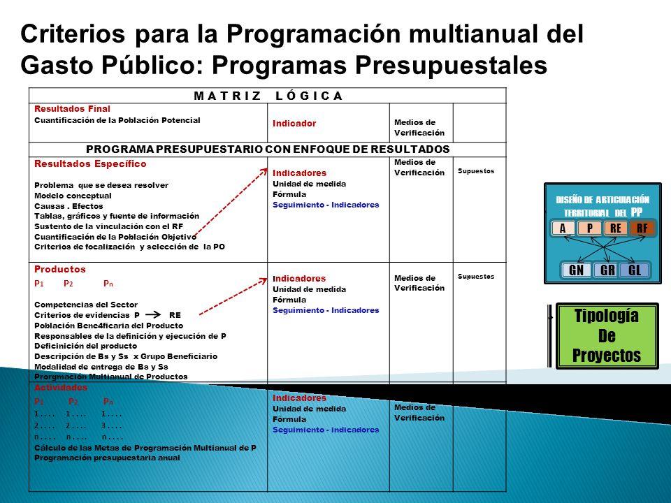 Criterios para la Programación multianual del Gasto Público: Programas Presupuestales M A T R I Z L Ó G I C A Resultados Final Cuantificación de la Po