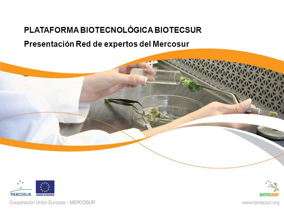 PLATAFORMA BIOTECNOLÓGICA BIOTECSUR Presentación Red de expertos del Mercosur